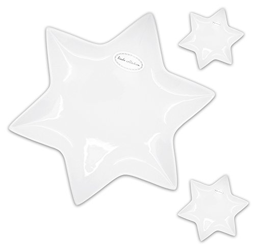 3er SET Porzellan Stern Teller zur Dekoration od. als Servierteller