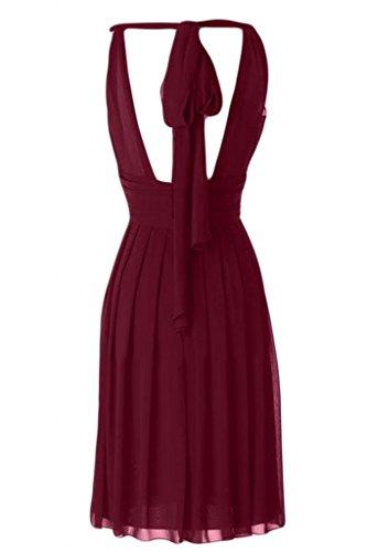 Sunvary girocollo con maniche e corsetto con fondo arricciato da damigella d'onore per feste, con fascia rosa fucsia