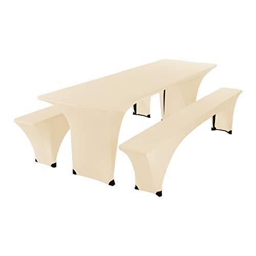 SCHEFFLER-HOME Bierzelt-Garnitur 3tlg. Set für Tisch und Bänke Stretch-Hussen 70x220 cm,...