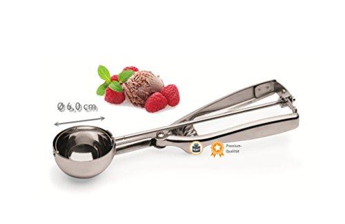 Kerafactum® - Edelstahl Eiskelle Portionierer Kugelformer Eisportionierer für Eis, Püree, Reis verschiedene Größen (Ø 6,0 cm)