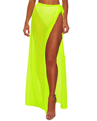 Kenoce Damen Strandkleid Bikini Cover up Sommer elegant Sarong Pareo Strandtuch Multifunktional Durchsichtig Strandkleider Gelb One Size