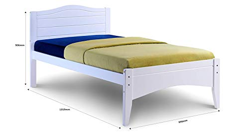 Humza Amani Single Bed in White 3FT Single Bed Wooden Frame WHITE Lauren Laura James Tillbury (single 3FT) (90x190)