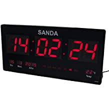 Sanda SD-0006 Reloj Digital de Pared Led Color Rojo Calendario Termometro Alarma Despertador Clock