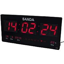 0067e38f3080 Sanda SD-0006 Reloj Digital de Pared Led Color Rojo Calendario Termometro  Alarma Despertador Clock