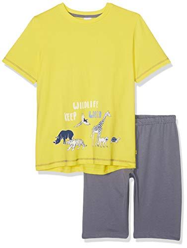 Sanetta Jungen Pyjama Short Zweiteiliger Schlafanzug, Gelb (Lemon 2225), 128 - Herren-lacrosse Shorts