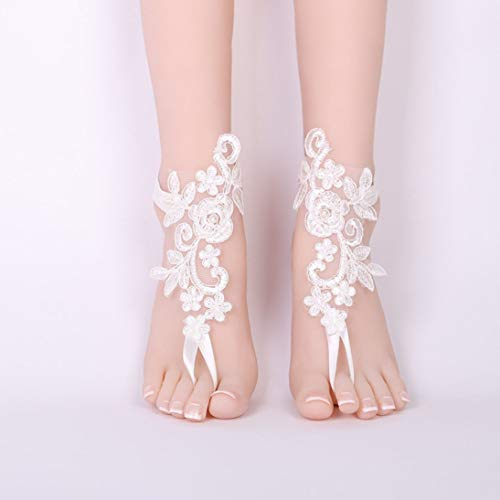 Scarpe da sposa sexy bianche di nozze dei gioielli del caviglia di nozze dei sandali a piedi nudi dei sandali a piedi nudi sexy