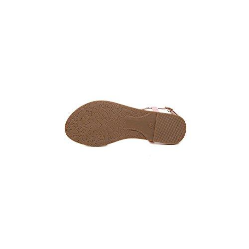 OCHENTA Damen Sandalen Zehentrenner Flach Einfach Strandschuhe Seitefrei Kontrast Farbe Rosa