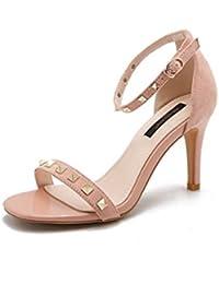 Unbekannt Damen Sommer Sandalen High Heels Open Toe Fein mit Wort Schnalle Wild, Rot, 38