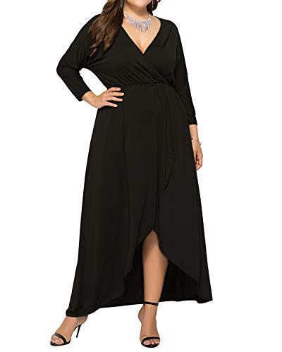 AUDATE Damen Plus Size Sexy Wrap V-Ausschnitt Langarm Maxi Kleid Rüschen Flowy Hem Kleider für Damen Schwarz DE 48 -