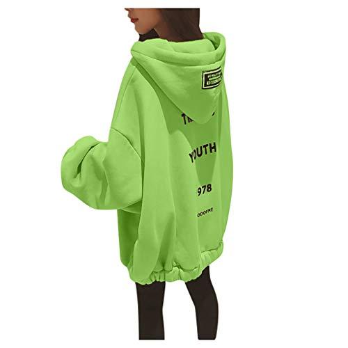 Floweworld Damen Oversize Sweatshirt Lose Feste Brief Gedruckt Verdickung Hoodies Winter Mode Lässig Mit Kapuze Pullover Sweatshirt S ~ 5XL