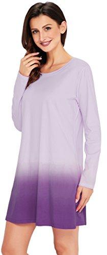 Angerella Damen Rundhals Lange Ärmel A-line Lace Stitching Trim Lässiges Kleid Violett(Tie dye)