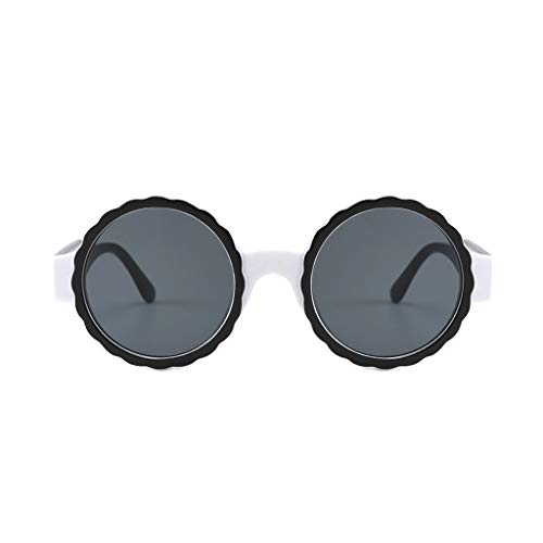 YEARNLY Herren Damen Runde Metallrahmen Sonnenbrille Brille schwarz Rosa Objektiv