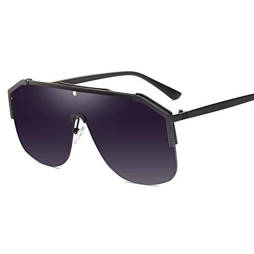 YHgiway Männer Aviator einteiliges Objektiv Sonnenbrille Flat Top Metallrahmen übergroßen Retro Punk Stil Frauen Sonnenbrille YH7460,BlackFrame/GrayGradient