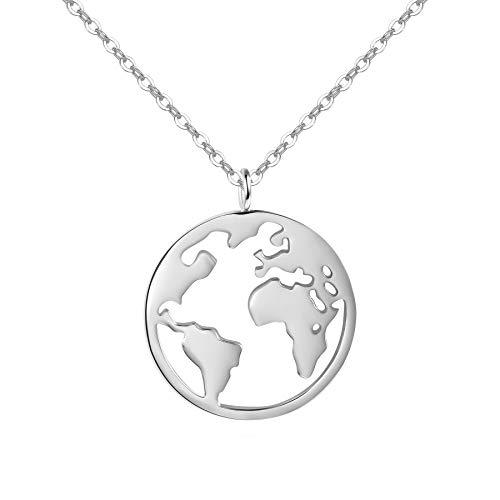 URBANHELDEN - Damen-Kette mit Weltkarten Anhänger - Hochwertige Hals Kette World Amulett aus 925er Sterlingsilber - Damen Schmuck in Silber