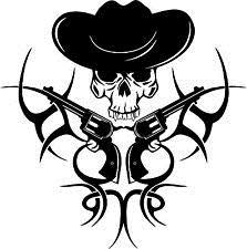 ue Tribal Cowboy tragen Hut Schädel Western Rodeo Style Wall Decal ()