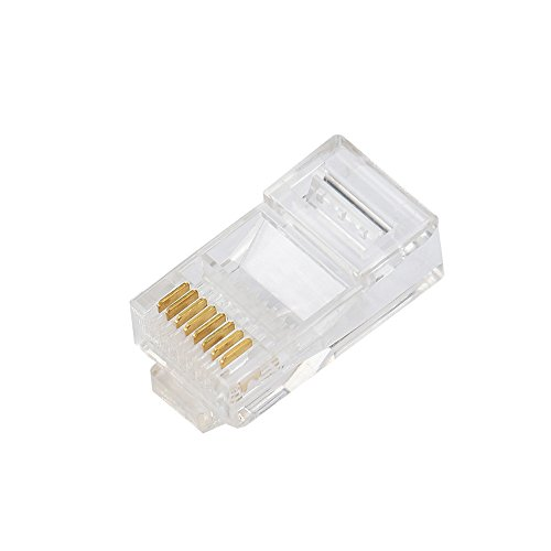 Yowablo Netzwerkanschluss Cat5 Cat5e RJ45-Metall Kabel Modular Plug Terminals (50 PCS,Vergoldetes 3HE Antioxidations-Weiß)