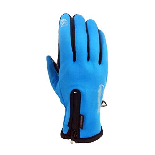 TianBin Unisex Outdoor Gloves Winter Winddicht Warm Touchscreen Handschuhe Fahrradhandschuhe mit Reißverschluss (Blau, Asia M)