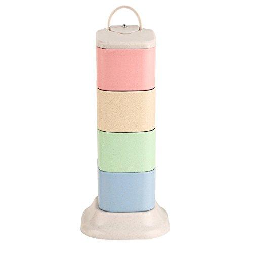 Gewürzregal gewürzlagerung Behälter drehen portabel 4 Tier mit löffel würze töpfe für Salz, Pfeffer und Zucker Drehen Spice Rack