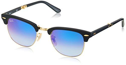Ray Ban Unisex-Erwachsene Sonnenbrille Clubmaster Folding, (Gestell: schwarz,Gläser: blauverlauf 901S7Q), Medium (Herstellergröße: 51)