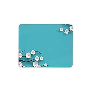 Chinese Cherry Blossom Mouse Mat Pad - Aquamarine Color Computer Fun Gift #15104