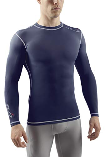 Sub Sports Herren Dual Kompressionsshirt Funktionswäsche Base Layer langarm, Navy, M