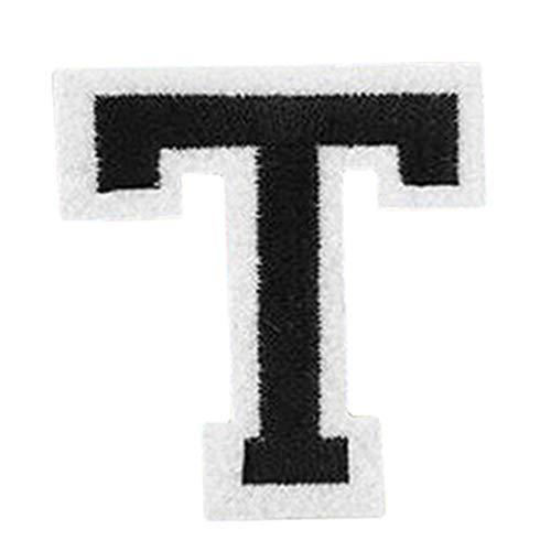 Eshiglobal A-Z Lettre brodée thermocollant Patchs Chapeau Veste Jeans DIY Badge - T