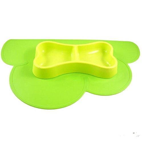 Xinjiener Wolken-Silikon-Fütterungsmatten-Haustier-Behälter-Rutschfeste Anti-Biss-Wasserdichte Matte (Grün)