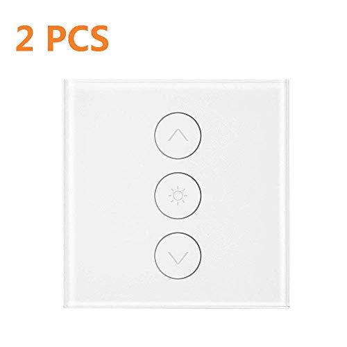 Konesky Wifi Smart Switch 1 Gang, 2 Pack Smart Licht Touch Control stufenlosen Dimmer 400W Wireless Fernbedienung Funktioniert mit Alexa Google Assistant IFTTT mit Zeitfunktion (Neutral Line Need) (Licht Sie Wand Schalter Ändern)