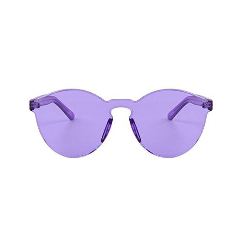 NoyoKere Mode Frauen Mädchen Sonnenbrille Cat Eye Shades Sonnenbrille Integrierte Brillen Candy Farbe UV400 Lila
