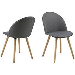 AC Design Furniture Roger Silla de Comedor, Tela, Gris Oscuro, B: 49 x T:54,5 x H: 83,5 cm, 2 Unidades