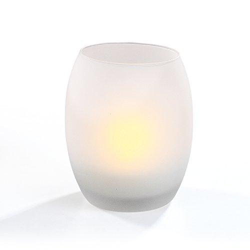 LED Wind Luz Wind Cristal flackernde Llama té luz vela (Efecto lámpara de mesa decorativa, altura 12cm, cristal mate)