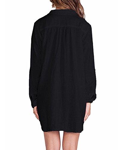 ZANZEA Femme Chemise Manches Longue Tunique Lâce Mini Robe Mousseline T-Shirt Tops Haut Blouse Noir