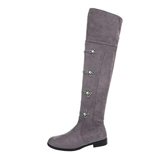 Ital-Design Damenschuhe Stiefel Overknees Synthetik Grau Gr. 41