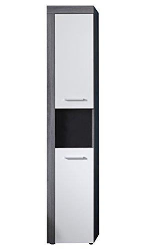 #trendteam Badezimmer Hochschrank Schrank Badezimmerschrank Miami, 36 x 184 x 31 cm in Korpus Rauchsilber Dekor, Front Weiß mit offenem Fach und viel Stauraum#