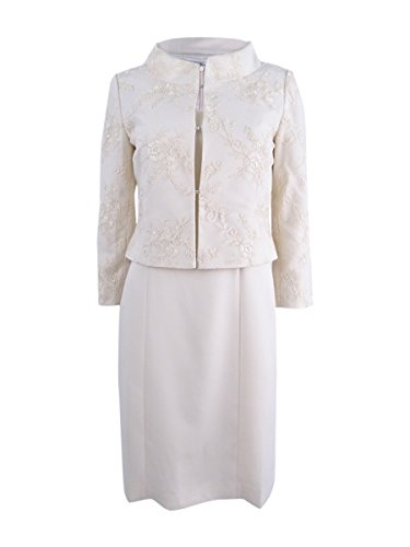 Tahari Womens Lace Overaly Mesh Dress Suit