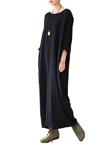Youlee Donna Collare Rotonda Robes Cotone Lino Vestito Per L'estate Nero