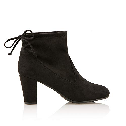 453c1e30b73 Cushion Walk Suedette Heeled Tie Ankle Boot Black