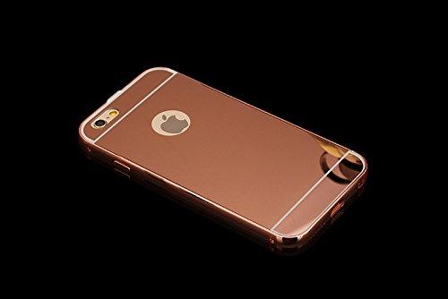 Minto Luxus Aluminium Metall Spiegelhülle Schutzhülle + Panzerglasfolie iPhone 5 / 5S / SE Spiegel PC Rückseite Case Cover Hülle Gold + Metall Bumper Rahmen Echtglas Hartglas Schutzfolie 9H Gold -i6