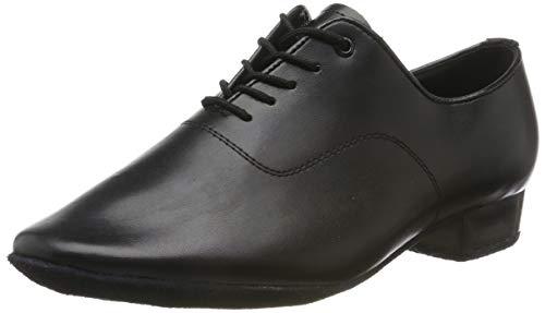 Sansha Herren Weiche Sohle 2,5 cm Absatz Leder Schnürschuhe Tanzschuhe Moderne Tanzschuhe, Schwarz - Schwarz - Größe: 39 EU