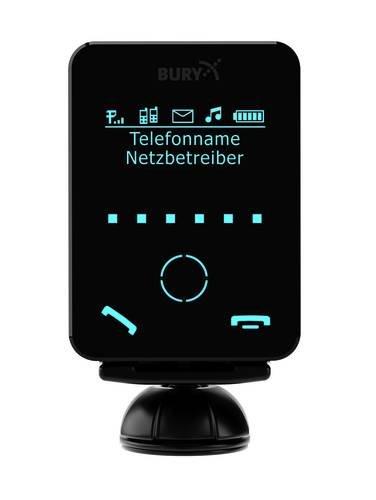 Bury CC9058Mono Bildschirm (Bury Freisprecheinrichtung; Bluetooth Kfz-Freisprechanlage 7,1cm; Monochrom abnehmbarer Touchscreen dialogplus Sprachsteuerung Zauberwort Aktivierung A2DP Audio-Streaming 3,5mm AUX Eingang-Kabel 30Watt Verstärker für bessere Sound Qualität Micro USB Ladekabel) - Mono-bildschirm