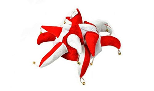 Flagmania® Red and White Supporters Jester Hut – Fancy Dress + 59 mm ()