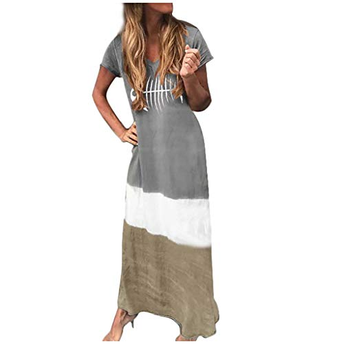 cinnamou Kleid Damen FischgräTe Drucken Kurzarmkleid V-Ausschnitt Kontrastfarbe Mode Kleid Lockeres Kleid Farbabstimmung NäHen V-Ausschnitt Kurzarmkleid Langkleid (Fischgräten-kleid Baumwolle)