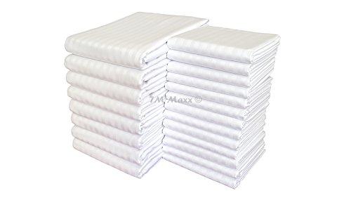Hotelbettwäsche Satinbaumwolle Damast mit Streifen 155g/m2 Kissenbezug Bettbezug diverse Ausführungen (140 x 200 cm, Weiß + graue Streifen (Streifenbreite 1 cm)) - Damast Streifen Bettbezug