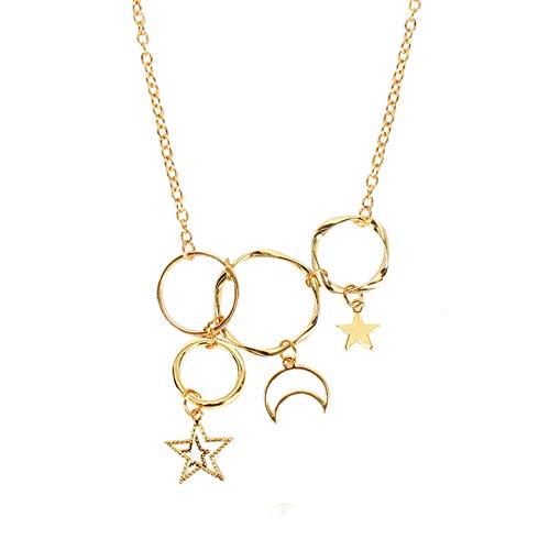 GSYYSZD Layered Choker, Multilayer Chain Halskette Set Einstellbare Schmuck Party Fashion Metall Cool für Frauen Mädchen Silber Gold Höhlte Multi-Ring Kreis Sterne Mond