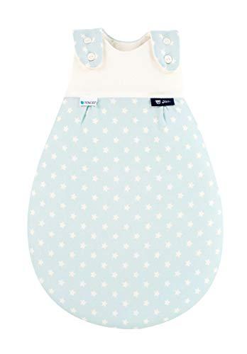 Alvi Alvi Baby Mäxchen Außensack Tencel/Baby-Schlafsack mitwachsend & atmungsaktiv/Sommerschlafsack & leichter Schlafsack klimaregulierend, Größe:50/56, Design:Stars aqua