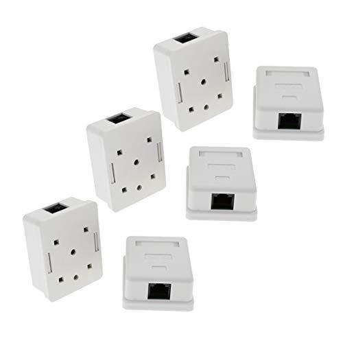 H HILABEE 6X CAT 5e Universal Netzwerkdose RJ45 Port - Aufputz oder Unterputz-10 Gigabit Ethernet Netzwerk. EIA/TIA 568A&B - Weiß