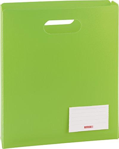 Brunnen 104163552 Heftbox FACT!pp (25 x 31 x 5 cm, aus transluzente PP-Folie für A4 Hefte und Schnellhefter, oben offen) grün / kiwi