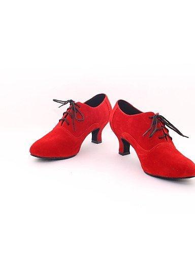 ShangYi Chaussures de danse (Rouge) - Non personnalisable - Talon bas - Flocage - Moderne Red