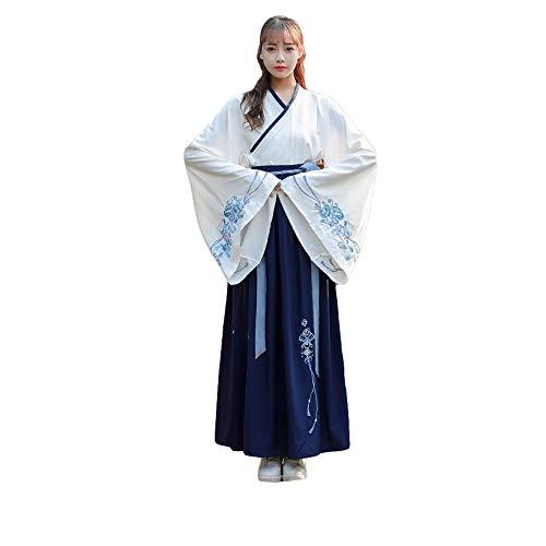 stüm der Frauen, traditionelles altes Besticktes Hanfu Tang-Anzug, traditionelle Vintage Langarm-Cosplay-Aufführungen tragen Kleid, Halloween Weihnachten,S ()