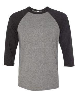 Unisex 3/4-Sleeve Baseball T-Shirt DEEP HEATHR/ BLK L (Ringspun-baseball-t-shirt)